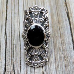 Vintage 925 Art Deco BIG Onyx & Marcasite Ring